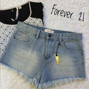 Nwt Forever 21 High Waist/Rise Light-wash Shorts